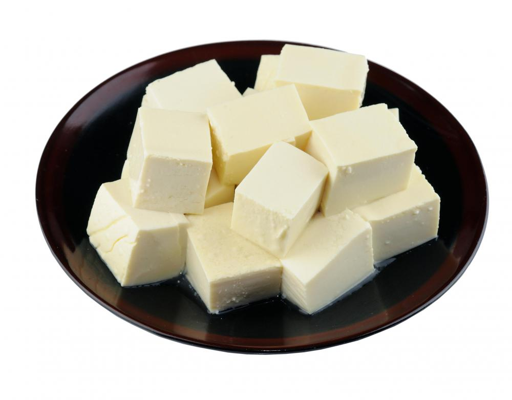 A plate of tofu before being fermented.