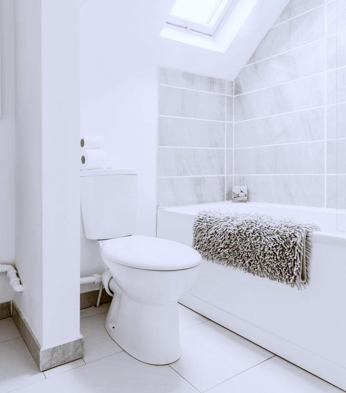 Light-colored walls make a bathroom appear larger.