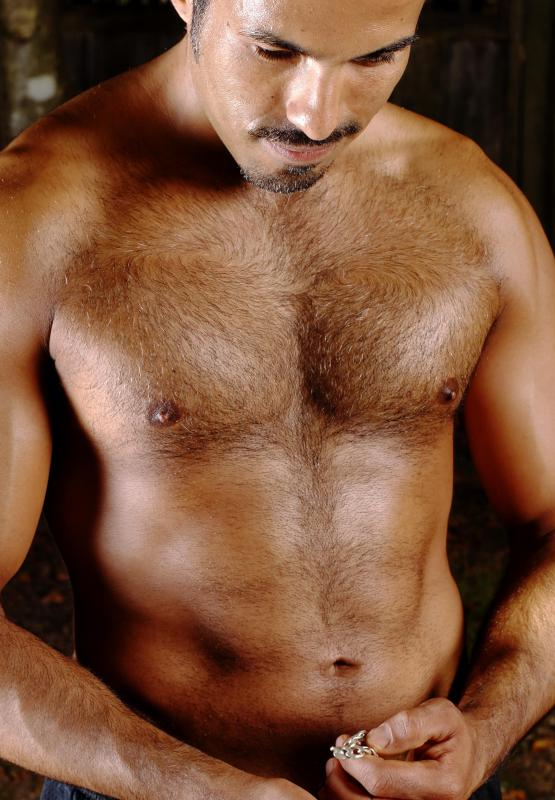 The hair on a man's chest may be referred to as hair or fur in some cases.
