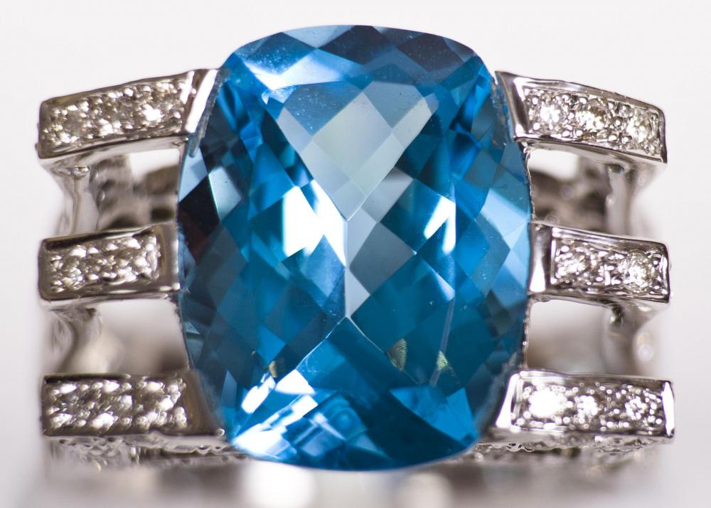 Treated topaz is a deep blue shade.