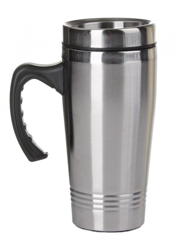 A travel mug with a person's favorite soup is a thoughtful get-well gift idea.