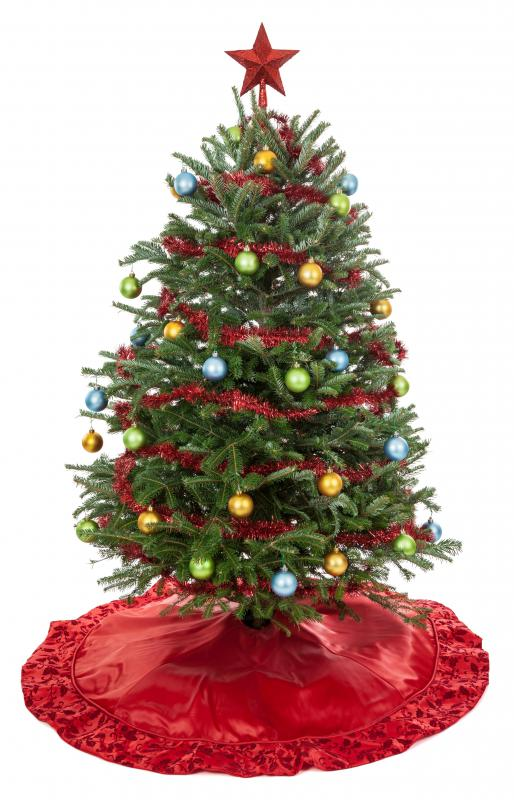 A fir Christmas tree may feature a tree skirt.