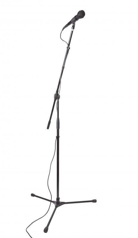 Straight microphone stands usually have a tripod base that folds up.