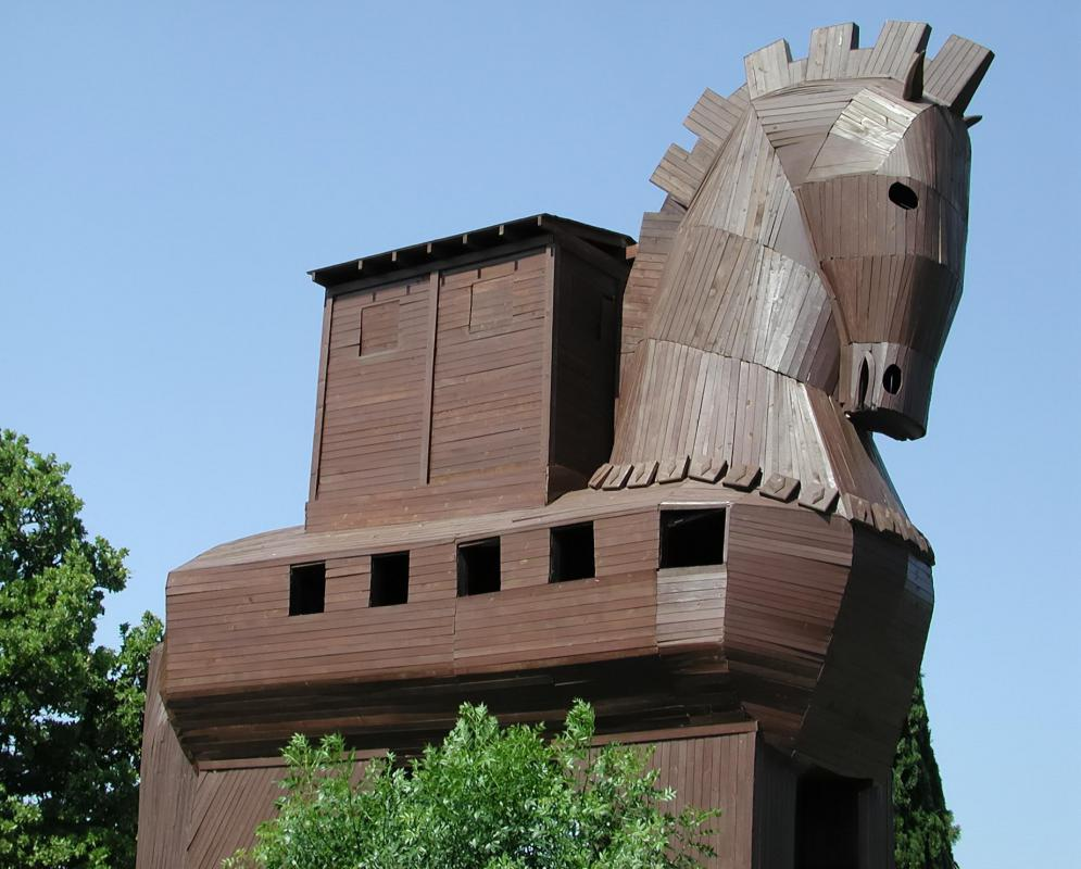 The Trojan Horse is sometimes thought of as a battering ram, a type of siege weapon.