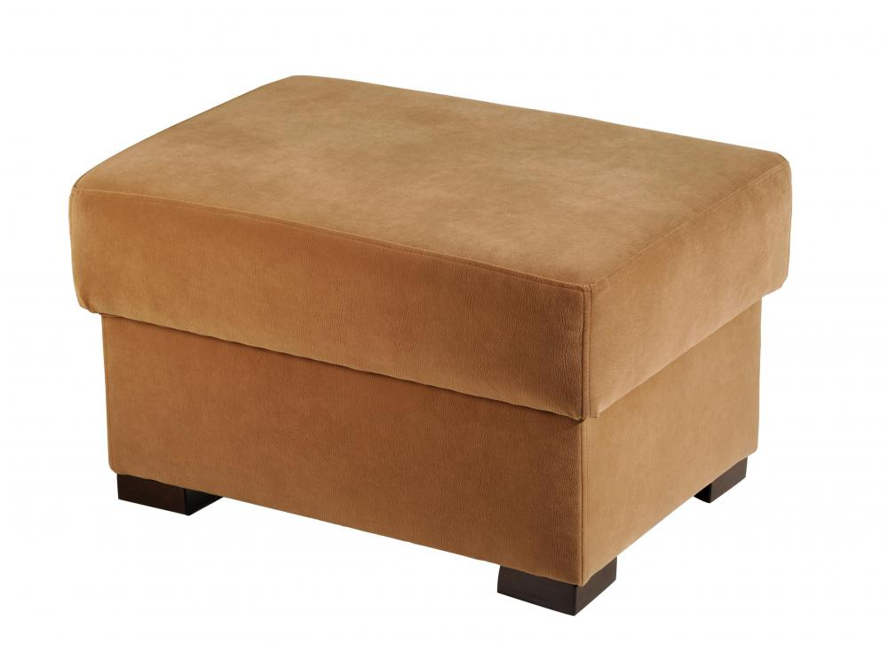 A storage ottoman serves as both a footstool and storage container.