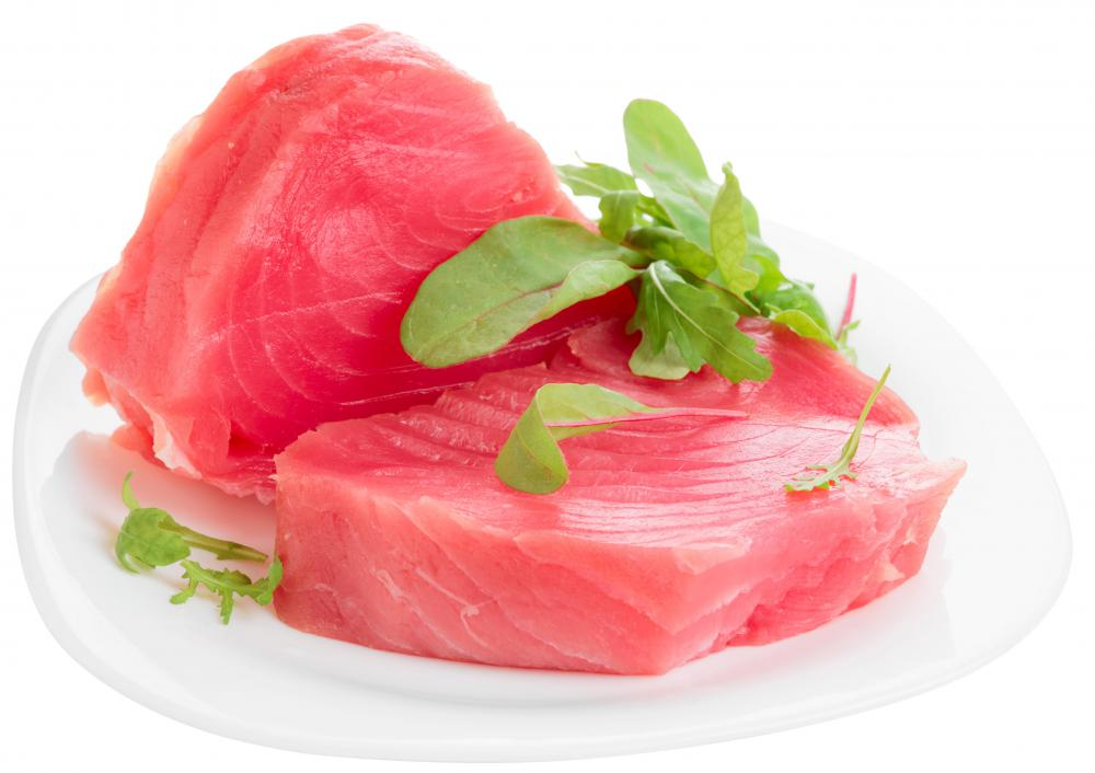 Yellowfin tuna has red or pink flesh.