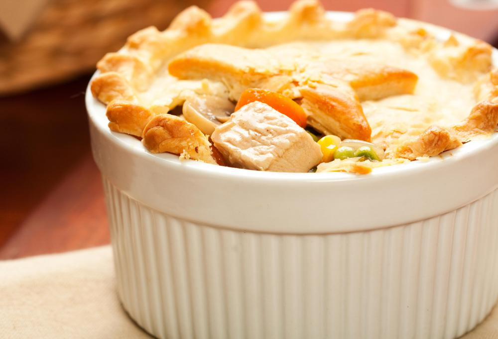 Ground beef may be featured in a pot pie.