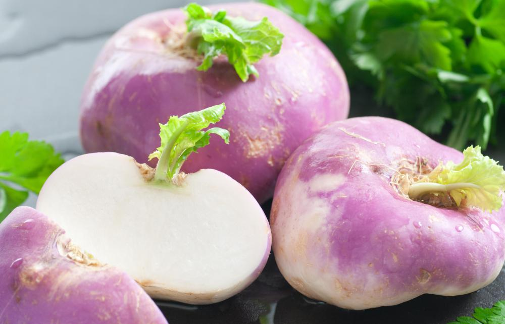 A turnip is a root vegetable that can be eaten alone or as an ingredient in a dish.