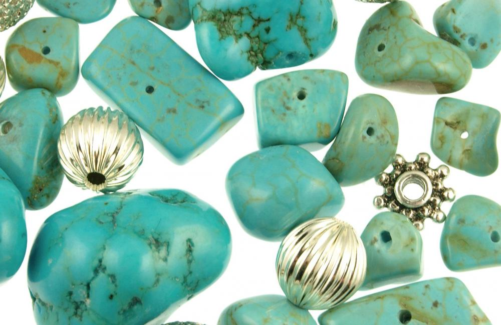 Because of its porous nature, howlite is often dyed to take on the appearance of turquoise.