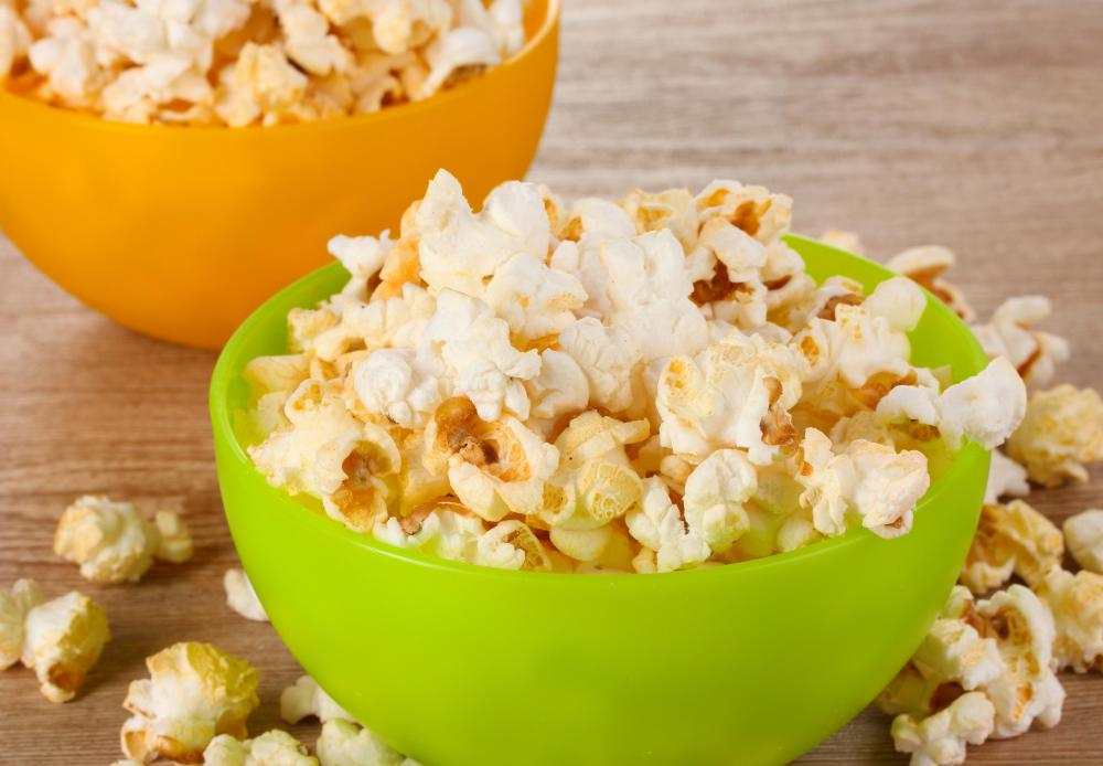 Party foods may include snacks like popcorn.