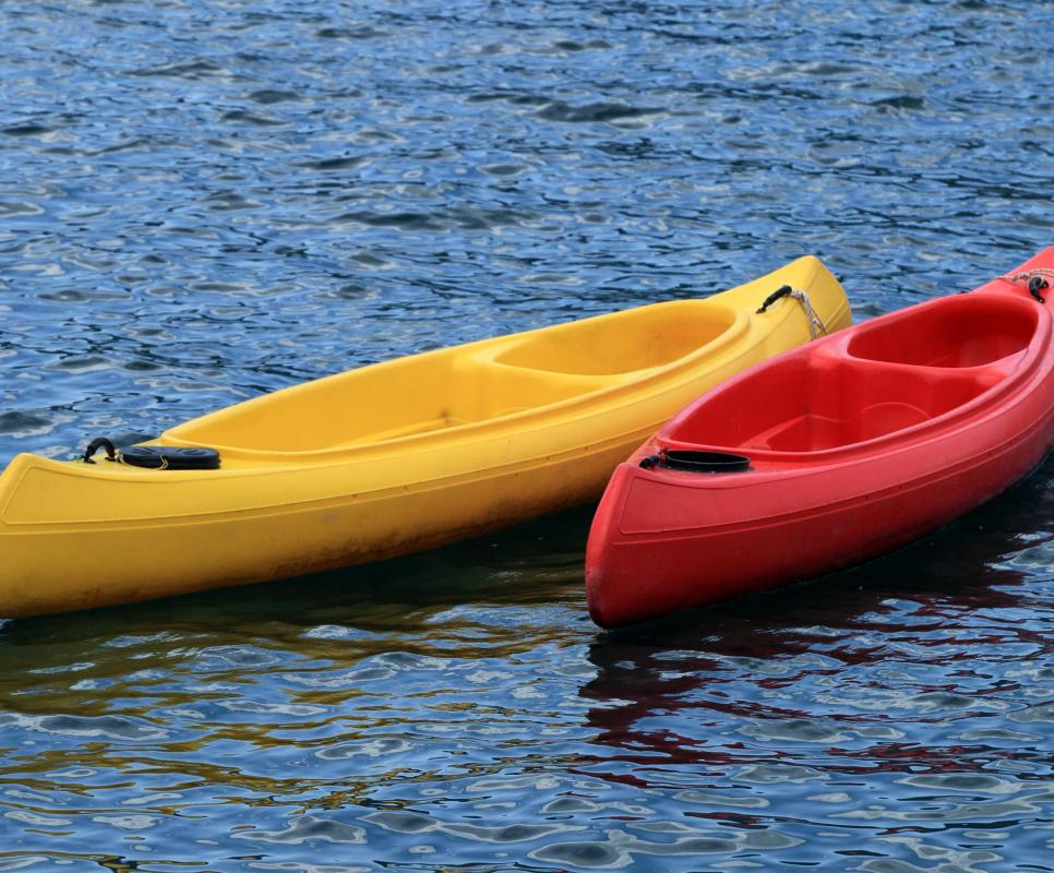 A canoe hoist may be used to lift a canoe off the ground for storage.