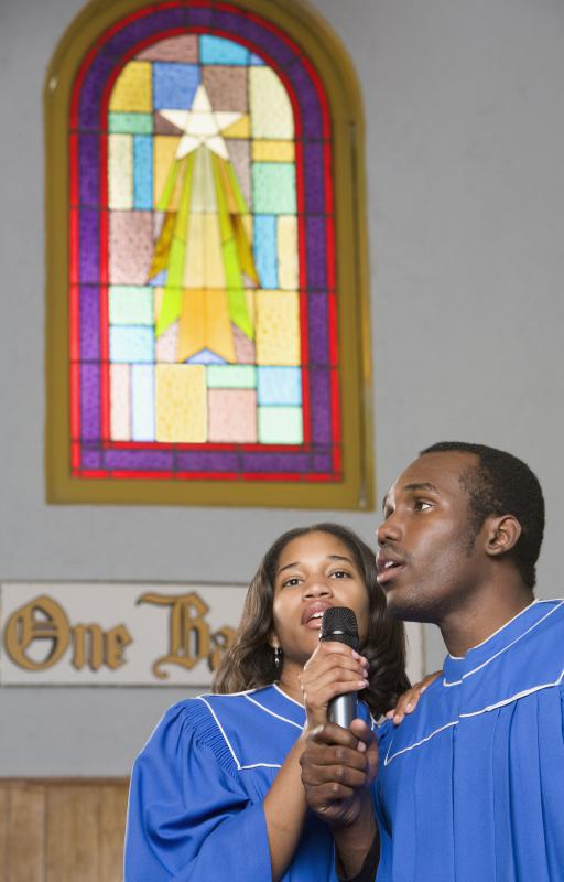 Christian music can be performed by gospel singers in a church choir.
