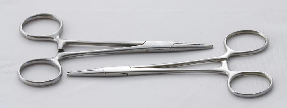 Hemostatic forceps are used to control bleeding.