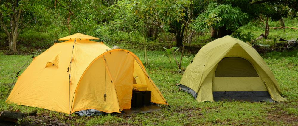 Tents may be necessary for an overnight hiking trip.