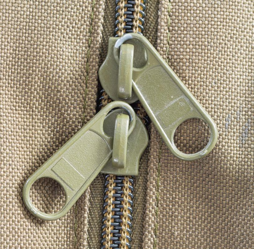 Two-way zipper on a garment.