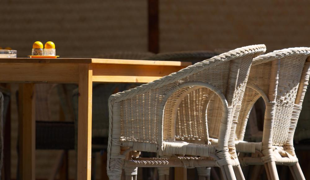 Outdoor chairs can be constructed of wicker.