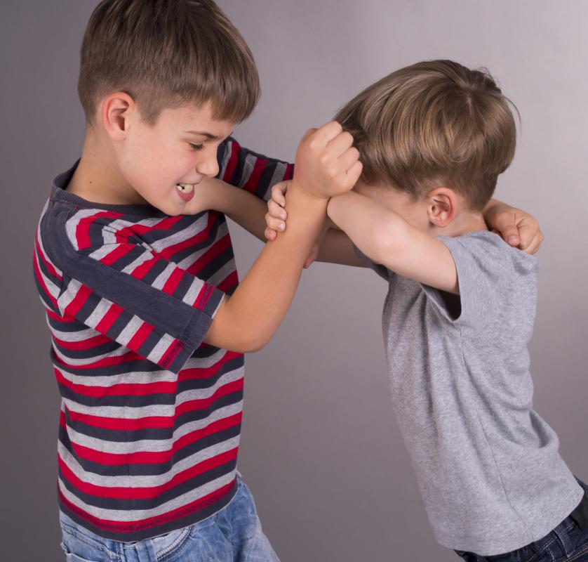 Conflict resolution scenarios may be used when two children aren't getting along.