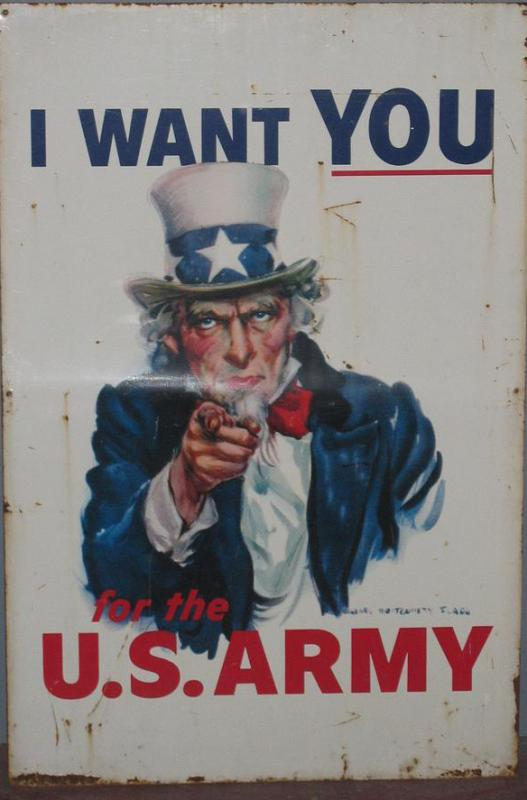 A propaganda poster with a caricature of Uncle Sam, a representation of America, encouraging people to join the army.