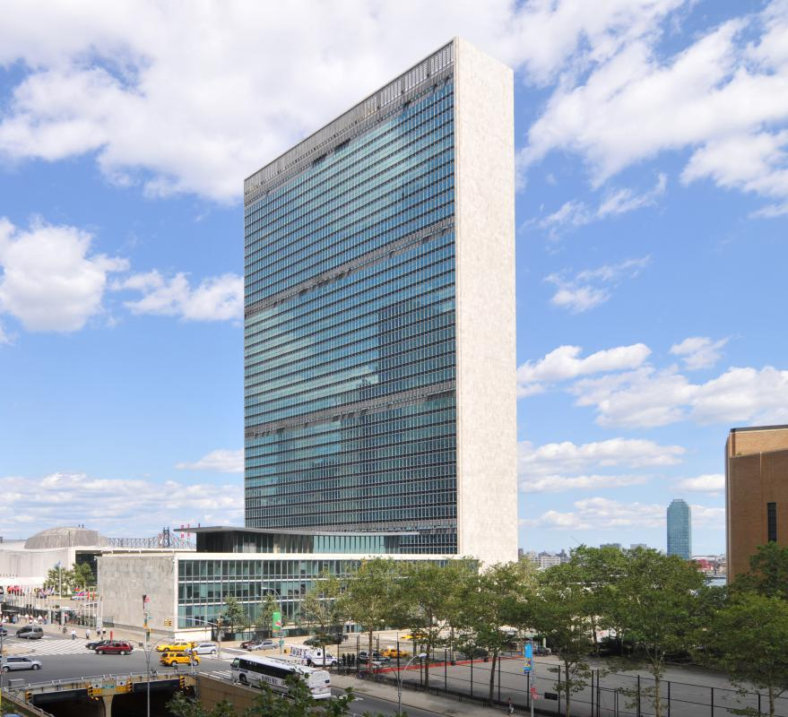 The United Nations building in New York, where permanent members of the Security Council have the right to veto certain resolutions.