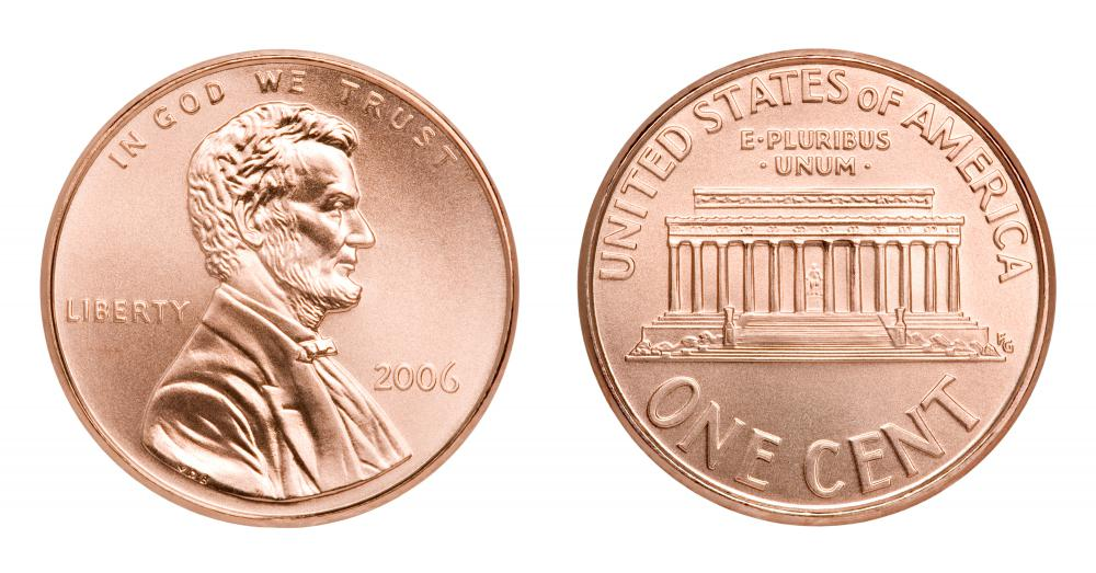US pennies made after 1982 are only coated in copper.