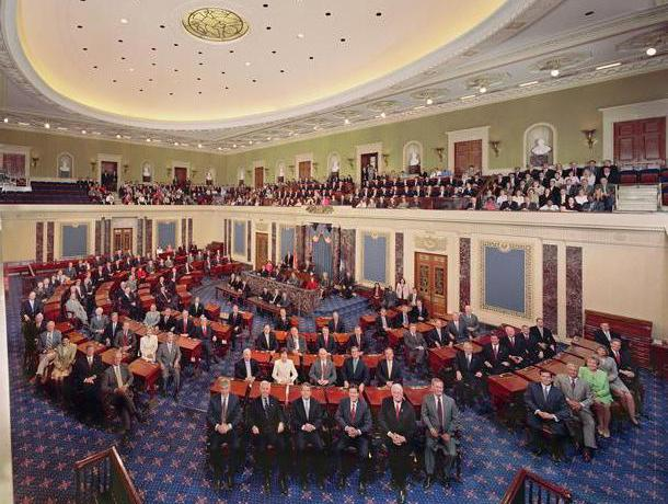 U.S. Senate chamber including the Senators of the 108th Congress.