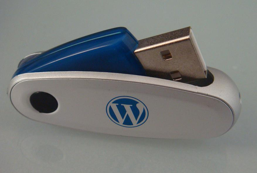 A USB thumb drive, a type of secondary storage device.