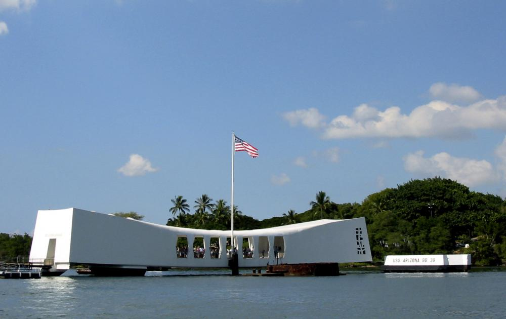The USS Arizona memorial at Pearl Harbor.