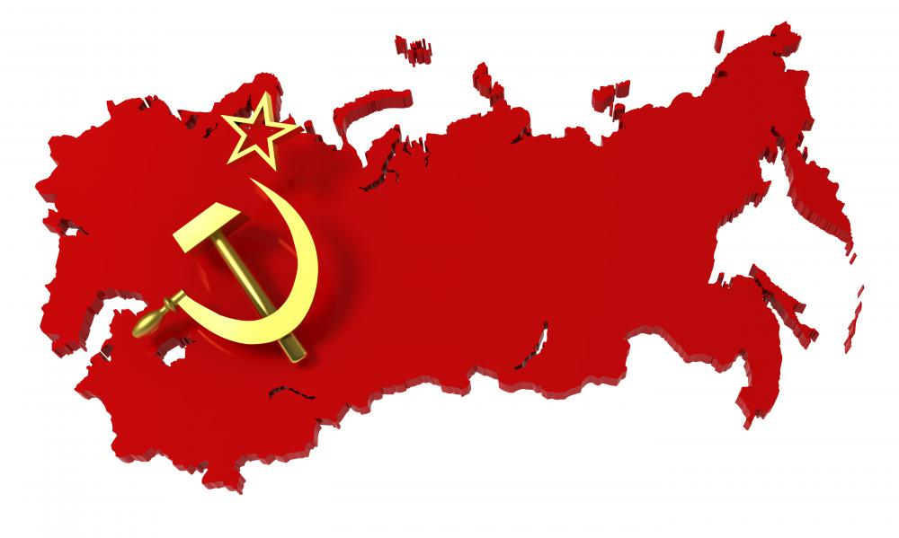 A map of the Soviet Union, with the star, sickle, and hammer that appeared on its flag.