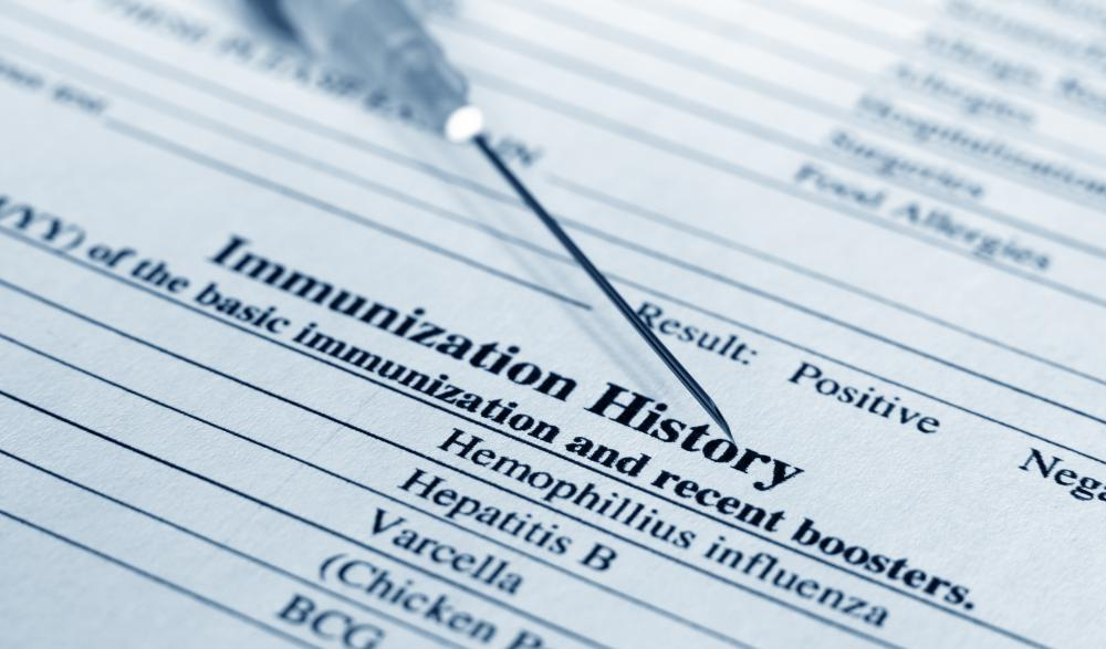A patient may provide immunization history forms when filling out a patient consent form for a new vaccination.