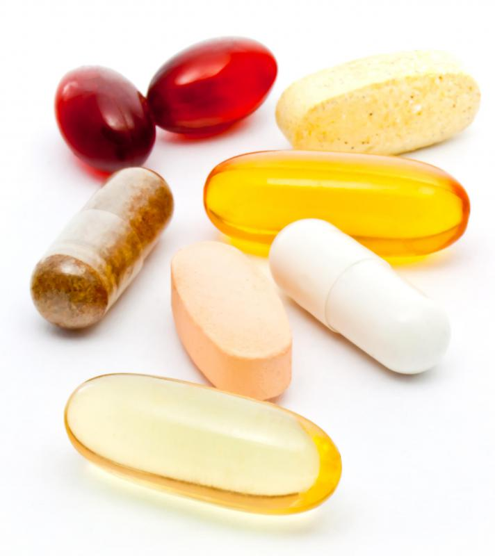 Various vitamin capsules and tablets.