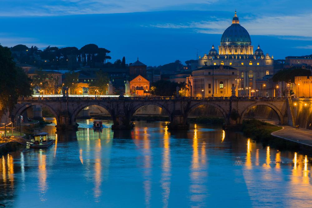 The dome of St. Peter's Basilica can be easily seen from the Tiber River.