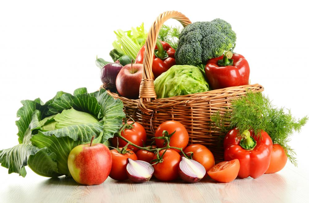 Fruit and vegetables, which make up a large part of a vegan diet.