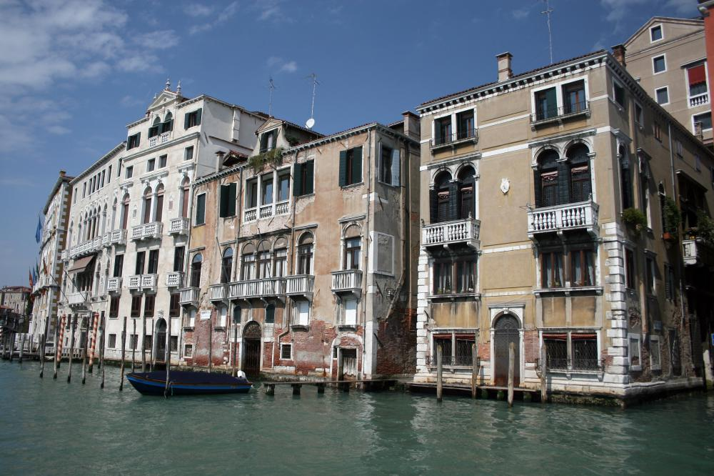 Gondolas are common in Venice, Italy.