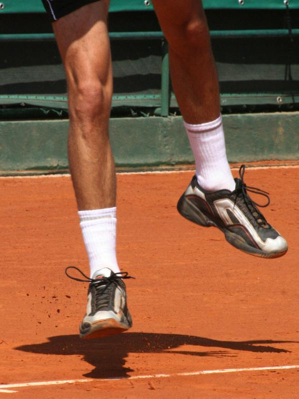 Some tennis shoes are made with twill fabric.