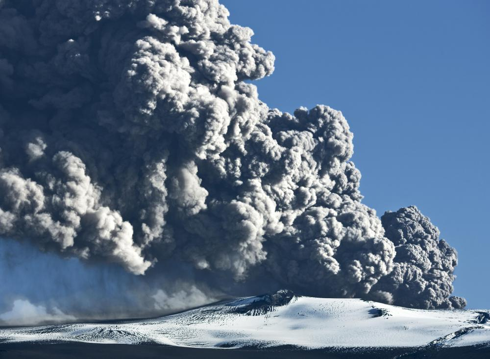 Vog is a type of natural smog released by volcanoes.