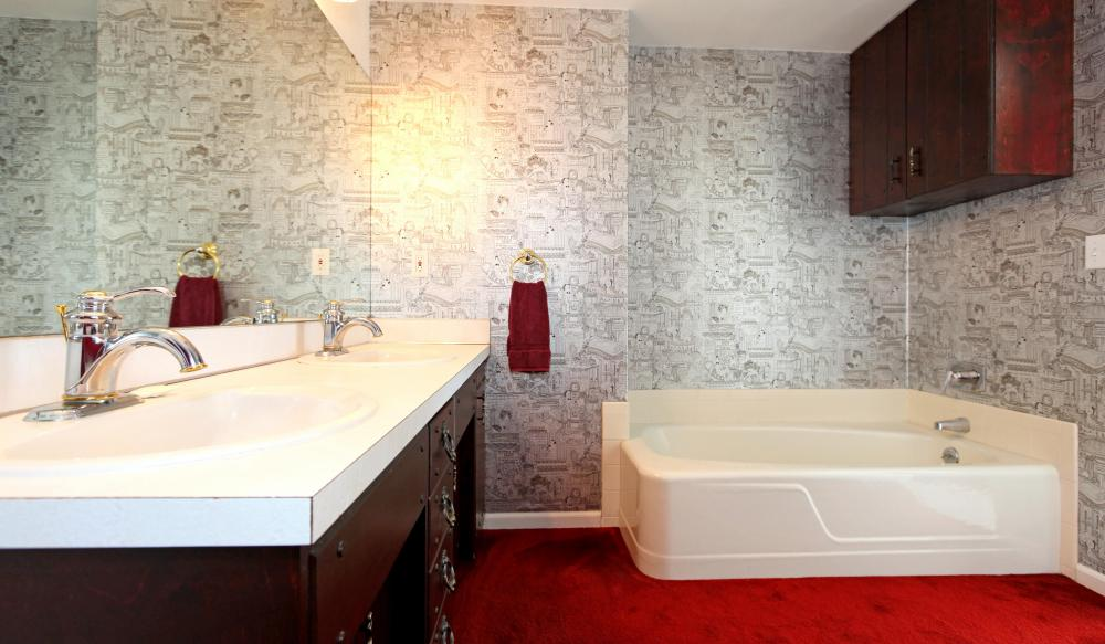 What are the different types of wallpaper with pictures for Different bathrooms
