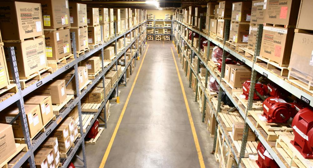 A warehouse management system controls the flow of goods through distribution systems.