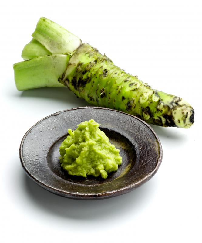 Nigiri sushi is commonly served with wasabi.