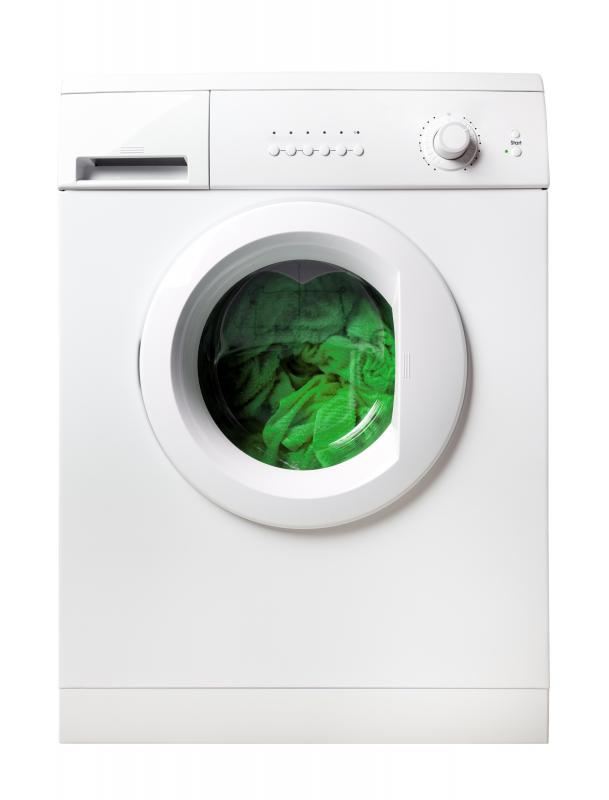 A washing machine with hard water build up.