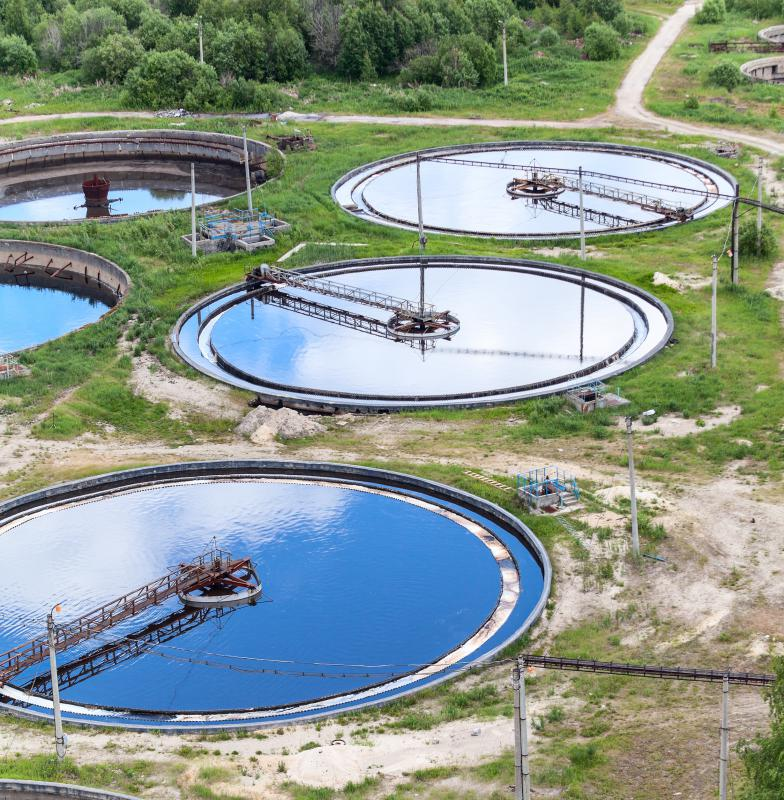 Sewage treatment plants clean waste water with special filtering chemicals.