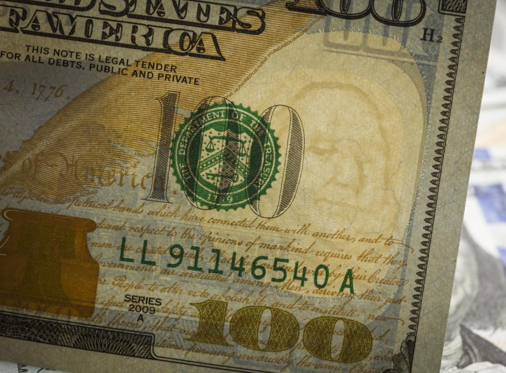 The $100 U.S. paper note includes a watermark as an anti-counterfeiting measure.