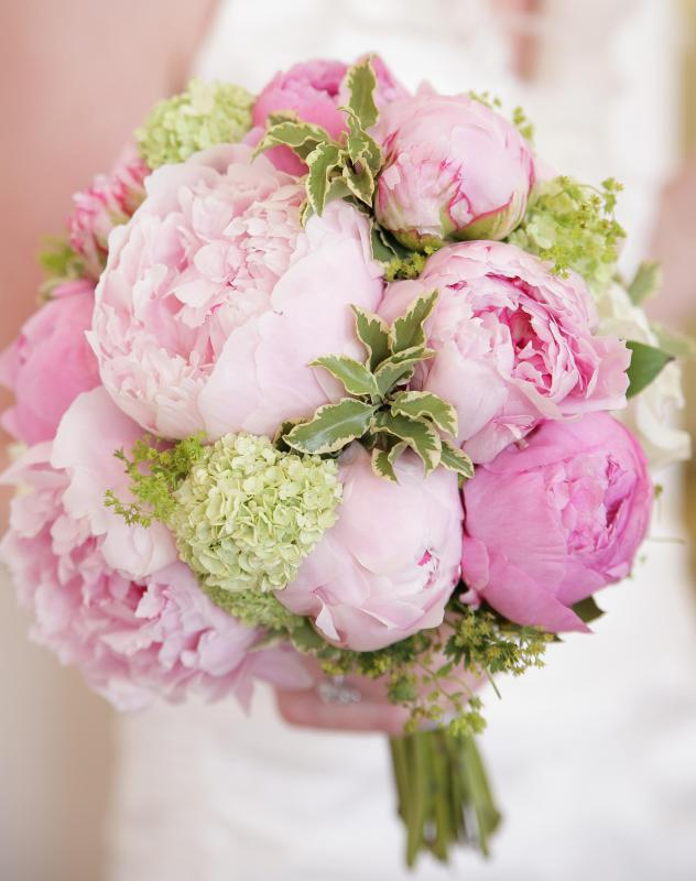 Wedding bouquets are often showcased at bridal shows.