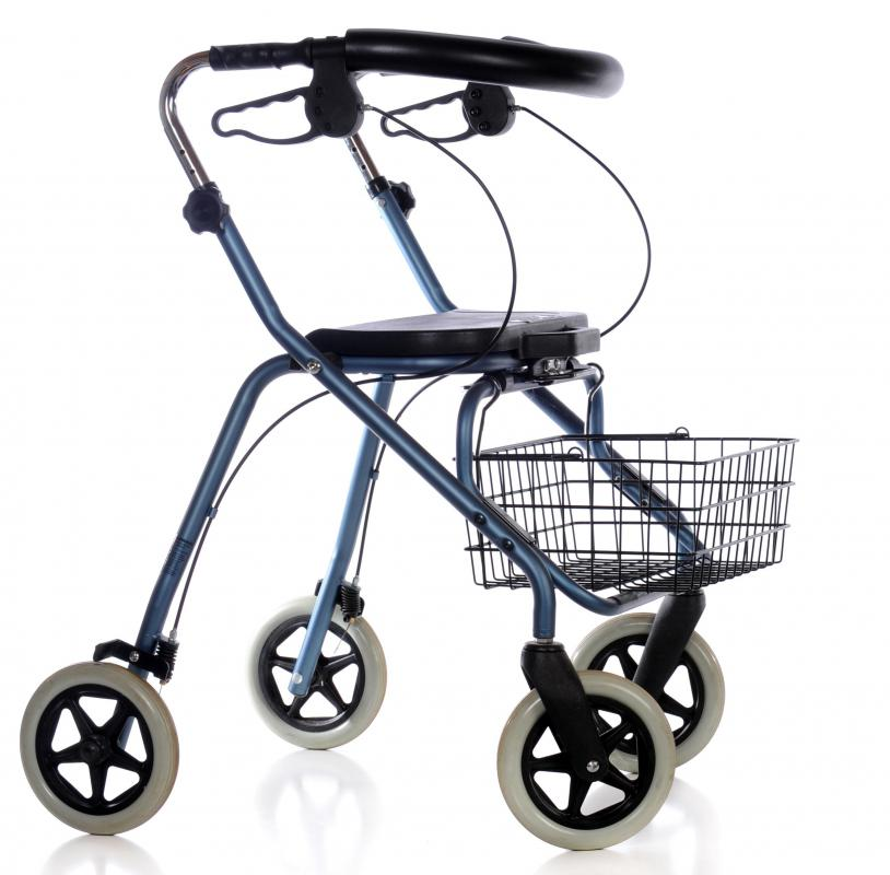 A four-wheeled walker is a type of mobility equipment that is generally more stable and also provides a seat for users to sit in when needed.