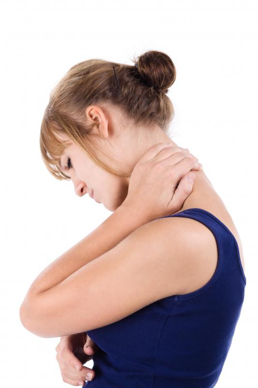 Neck pain may be paired with soreness in the arms and shoulders.