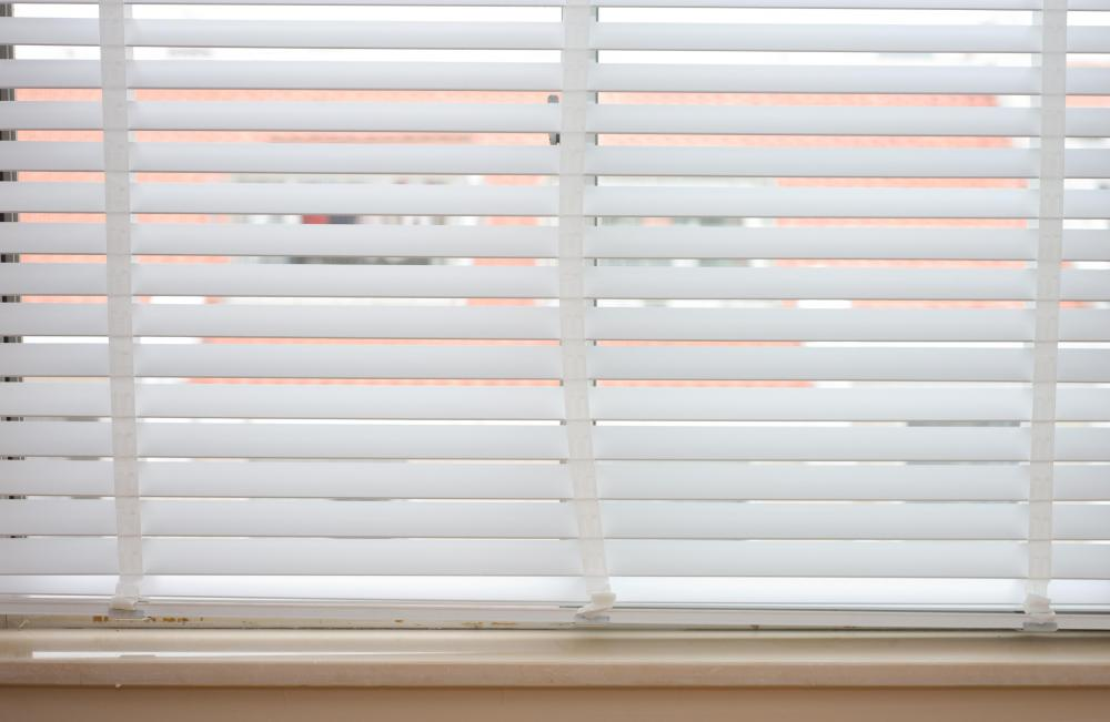 White plastic blinds.