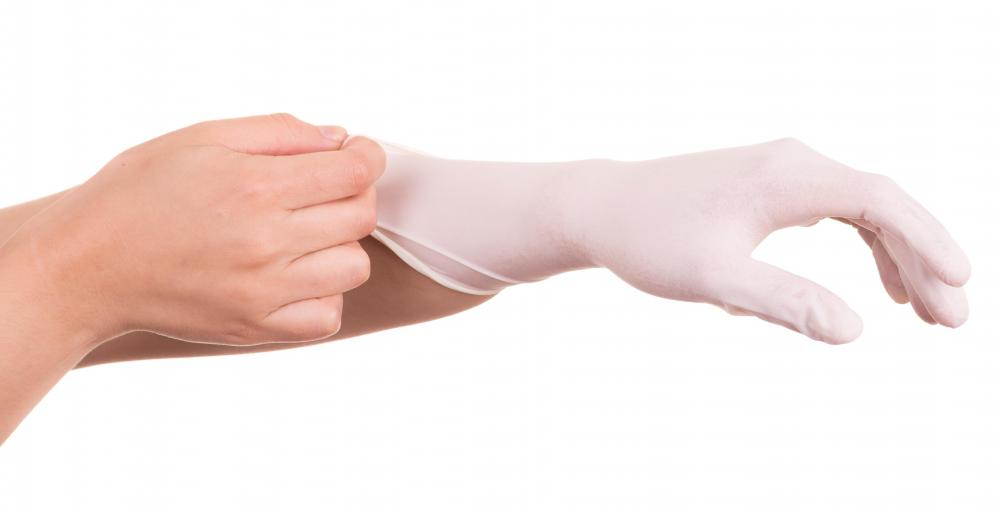 Wear protective latex-style gloves in order to avoid any harmful effects from chemicals.