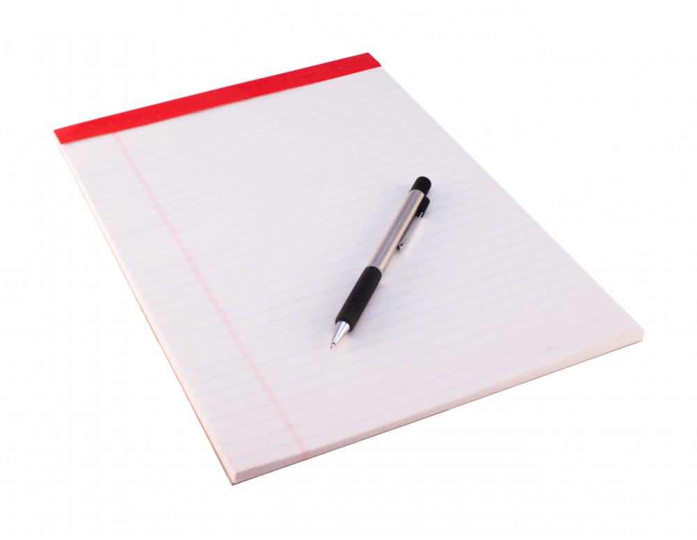 Legal pads and pens are good supplies for students to have for note-taking.