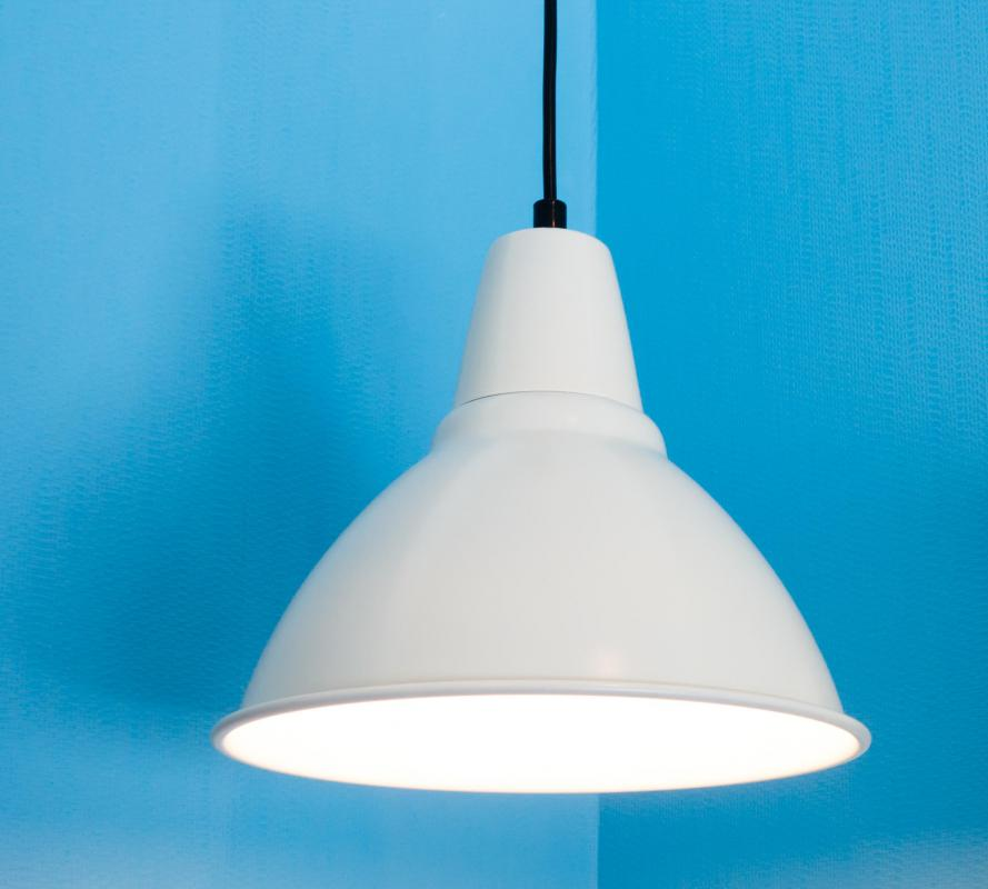 Pendant lighting is typically suspended from the ceiling with a cord or chain.