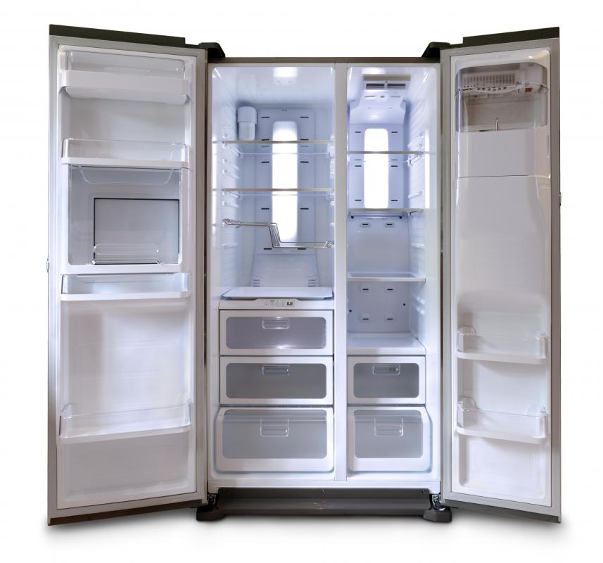 One of the first steps to cleaning a fridge is removing all the food.