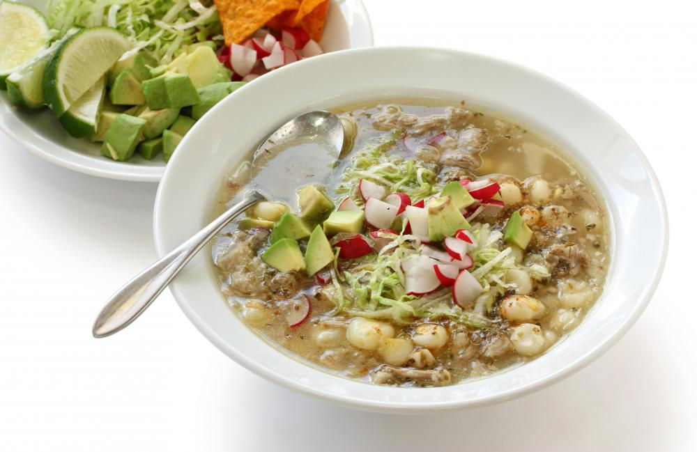 A traditional Latin American soup, pozole contains hominy, vegetables and meat.